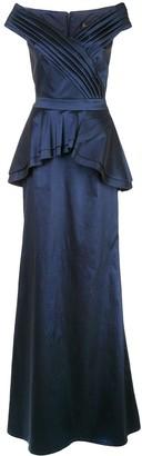 Tadashi Shoji Satin Peplum Gown