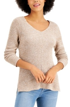 Style&Co. Style & Co Petite V-Neck Cotton Sweater, Created for Macy's