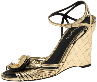 Chanel Metallic Gold Leather Faux Pearl Camellia Strappy Ankle Strap Wedge Sandals Size 39