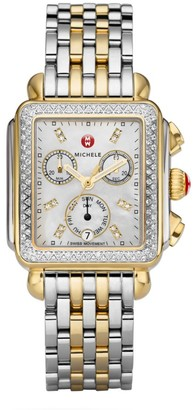 Michele Deco 18 Diamond, Mother-Of-Pearl & Two-Tone Stainless Steel Bracelet Watch