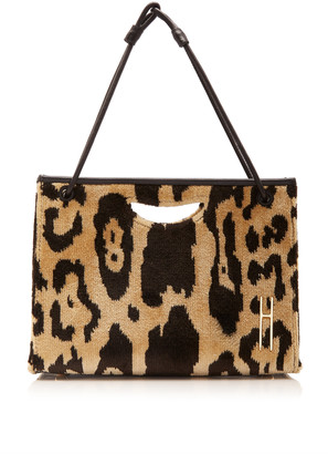 Hayward 1712 Mini Leather-Trimmed Leopard-Print Brocade Bag