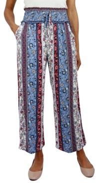 BeBop Juniors' Smocked-Waist Cropped Pants