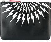Neil Barrett lightning print pouch - men - Leather - One Size