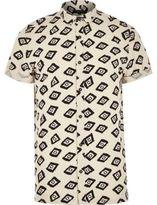 River Island MensEcru geometric square print shirt