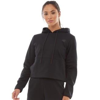 New Balance Womens Relentless Cropped Poly Fleece Hoodie Black