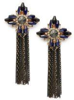 Natasha Goldtone Glass Crystal Tassel Drop Earrings