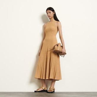 Sandro Long patterned pointelle dress