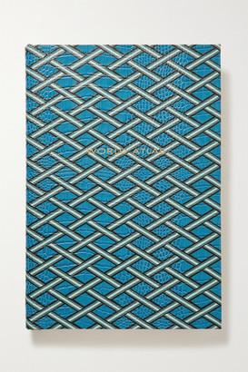 Smythson Mara World Atlas Large Printed Croc-effect Leather Hardcover Book - Blue