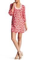 Trina Turk Split Scoop Neck 3/4 Length Sleeve Print Dress