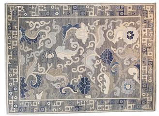 F.J. Kashanian 9'x12' Sari Wool Hampton Rug - Gray