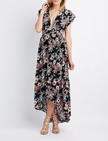 Charlotte Russe Floral Plunging Maxi Wrap Dress