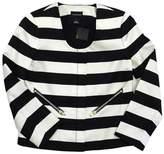 Club Monaco Black & White Striped Silk Zip Jacket