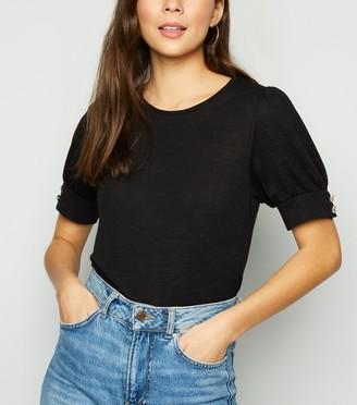 New Look Diamante Puff Sleeve Fine Knit T-Shirt