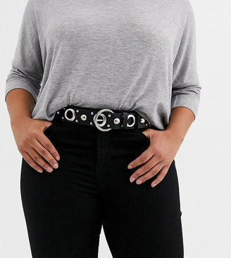ASOS DESIGN Curve multi eyelet and stud jeans belt in black