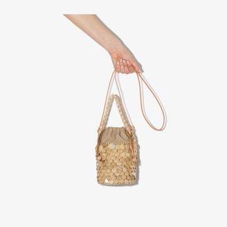 Aranaz neutral Fishscale mini abaca bucket bag