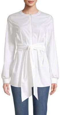 St. John Tie-Waist Button-Front Shirt