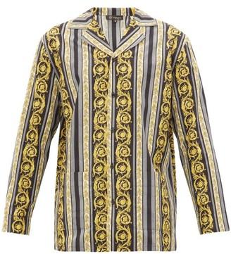 Versace Baroque-print Cotton Pyjama Shirt - Black Multi