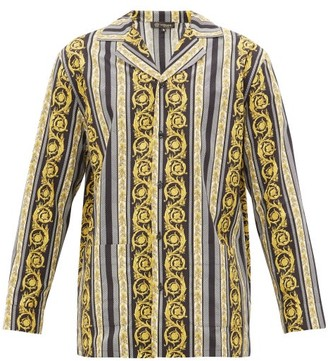 Versace Baroque-print Cotton Pyjama Shirt - Mens - Black Multi