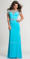 Dave and Johnny Illusion Sweetheart Beaded Cap Sleeve Prom Dress