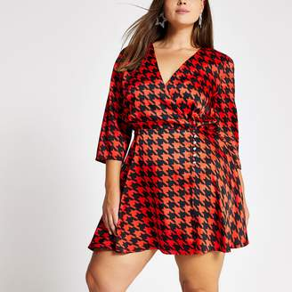 River Island Womens Plus Red dogtooth check print wrap dress