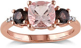 JCPenney FINE JEWELRY Genuine Morganite, Smokey Quartz and Diamond-Accent 3-Stone Ring