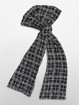 Calvin Klein Abstract Plaid Chiffon Scarf