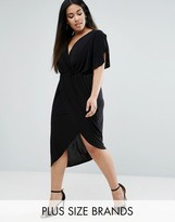 Club L Plus Asymmetric Dress With Flutter Sleeves