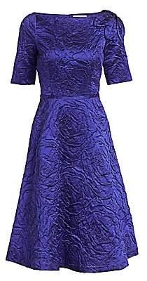 Teri Jon by Rickie Freeman Women's Jacquard Bateau Neck A-Line Dress