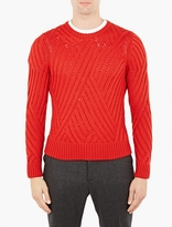 Neil Barrett Red Cable-knit Wool Sweater