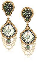 Miguel Ases Small Cascading Chain Dangles Briolette-Shaped Swarovski Post Drop Earrings