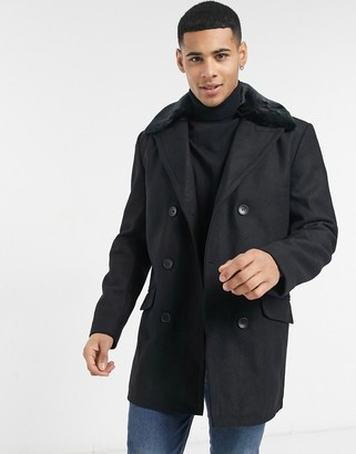 French Connection double breasted coat with faux fur collar