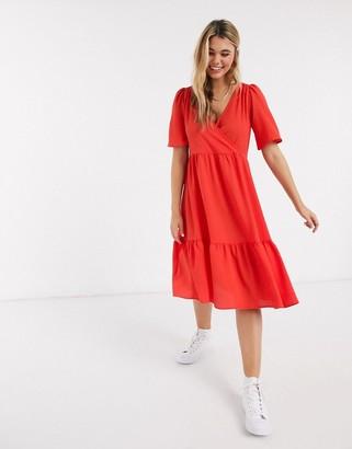 Monki Sandy flutter sleeve midi dress in red