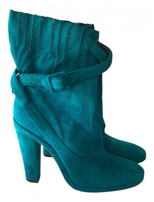 Loewe Turquoise Suede Ankle boots