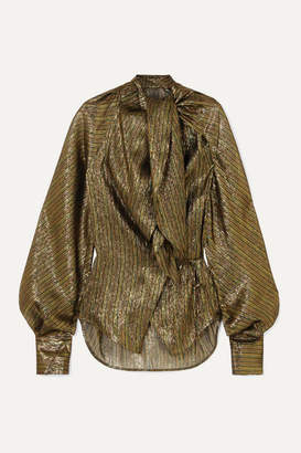 Petar Petrov Betsy Tie-neck Silk-blend Lame Wrap Blouse - Gold