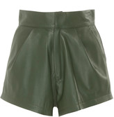Zeynep Arçay Zeynep Arcay Pleated Leather Mini Shorts