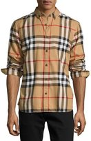 Burberry Check Cotton Flannel Shirt, Camel