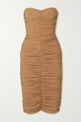 Norma Kamali Slinky Strapless Ruched Stretch-jersey Dress - Beige