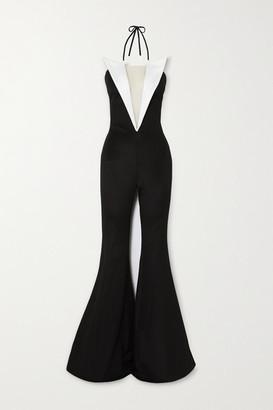 Balmain Two-tone Tulle-trimmed Ponte Halterneck Jumpsuit - Black