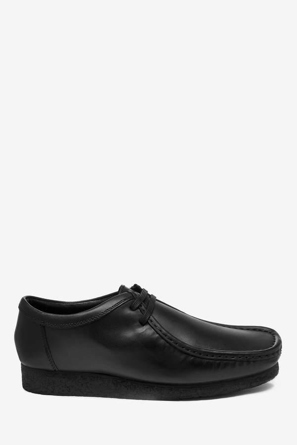 3daffeb6 Mens Black Leather Wallabee Shoes - Black