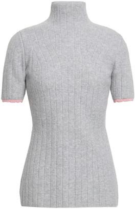 Victoria Beckham Ribbed Melange Wool-blend Turtleneck Top