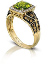 LEVIAN CORP Grand Sample Sale by Le Vian Green Apple Peridot & 3/8 CT. T.W. Vanilla Diamonds and Chocolate Diamonds in 14K Honey Gold Chocolatier Ring