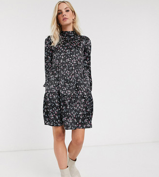 Vila Petite highneck ditsy mini dress-Multi