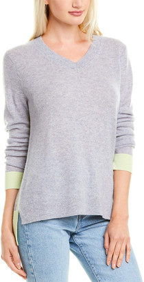 Hannah Rose High-Low Colorblocked Cashmere Sweater