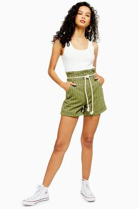 Topshop High Waist Stripe Rope Denim Shorts