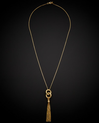 Italian Gold 14K Interlocking Circle Lariat Necklace