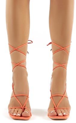 Public Desire Hysteria Faux Suede Strappy Lace Up Perspex Stiletto High Heels