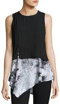 Neiman Marcus Sleeveless Asymmetric Hem Top, Black/White