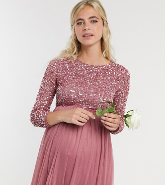 Maya Maternity delicate sequin long sleeve maxi dress with ruffle detail with tulle skirt in rose