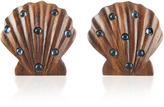 Rebecca de Ravenel Ariel Dark Wood and Denim Earrings