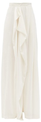Vika Gazinskaya Draped Wide-leg Velvet Trousers - White